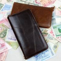 New Vintage Retro Casual Genuine Leather Oil Wax Leather Cowhide Men Long Zipper Wallet Wallets Purse Clutch Bag For Men 9312