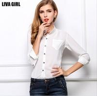 2014 New Fashion 7 Colors Chiffon Blouses Shirt Women Work Wear Long-Sleeve Slim Women's Tops Blouses & Shirts