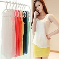 15 Candy Color Summer Women Chiffon tops for woman Loose Vest Tank Top Shirt Womens tank tops fashion 2014 ladies chiffon top