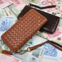 New Vintage Woven Casual Genuine Leather Oil Wax Leather Cowhide Men Long Zipper Wallet Wallets Purse Clutch Bag For Men 9330