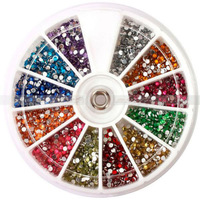 Free Shipping 2400 x pcs 1.5mm Nail Art Rhinestone Round Glitter Gems Acrylic Tips Decoration 4sets/lot