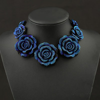new shamballablue flowers pendants choker necklace,big brand and big star fashion crystal vintage statement necklaces jewelry,
