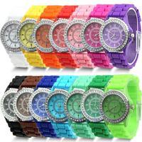 20pcs/lot 14 colors Fashion Silicone Watch Hot Selling Women Dress Watch Women Rhinestone Watches WA008