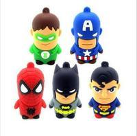 Hot 100pcs/lot Cartoon Hero USB Pen Drive 8GB Real Capacity PVC Bat Man Super Man Avengers USB Flash Drive