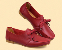 New 2014 spring/autumn genuine leather shoes size(35-40)red+black+khaki fashion joker women flats shoes korean women sneakers