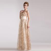 Free shipping 2014 New golden sequins Slim Bra princess bride dress dress evening dress performance dress Annual Meeting