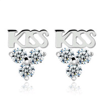 Fashion Earrings,925 Silver with Platinum Plated,Kiss Jewelry Earring Studs,Wholesale Stud Earring OE66