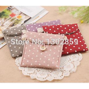 3PCS/SET Korean Fresh wave cotton Tampon pads sanitary Pad napkin bag Dots sanitary Towel Change Coin Purse Storage Bag(China (Mainland))