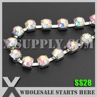 Free Shipping SS28 Single Row Sparse Rhinestone Cup Chain, 888 Quality Crystal AB Rhinestone in Silver Base, X11228