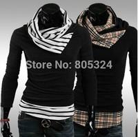 Male colorant match turtleneck slim sweater outerwear sweater 9259