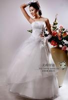 New arrival 2014 princess spaghetti strap diamond white paillette wedding dress wedding qi