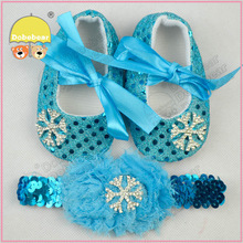 Frozen Big Silver Snowflake Kids Shoes For Baby First Walkers Bling Sequins Shoes&Headband 2014 Hot Selling(China (Mainland))