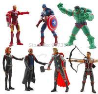 7 pcs/set The Avengers Marvel Hero Captain Iron Man the Hulk 14-15cm Action Flash with lamp Figure Doll Movie Carto 20sets/lot