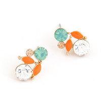 Fashion Sweet Female Enamel Leaves Crystal Earring OL Jewelry