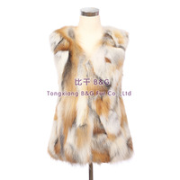 BG30404   New 2014  Real Pieces Fox Fur Vest Waistcoat Winter Vest Women Wholesale Retail Fashion Real Fur Vest Waistcoat