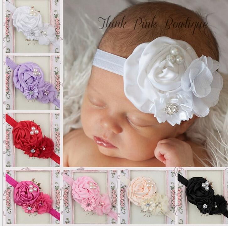 "Headband for baby girls 3"" Rolled Fabric Rosette Flowers with shiny diamond pearl headband 24pcs/lot free shipping(China (Mainland))"