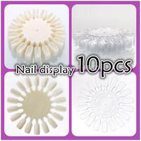 Hot  Wholesale 10pcs/Lot Fashion False Nail Art Tips Display Design Practice Wheel Board DIY Tools Clear Natural