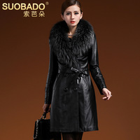 2014 winter fur long design sheepskin wadded jacket outerwear raccoon fur collar genuine leather clothing trench