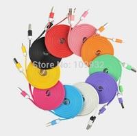 10 Colors 1M Flat Noodle Charger Cables 200pcs for iPhone 4 4S 200pcs for iPhone 5 5S 5C ipad 200pcs Micro USB Charging Cable
