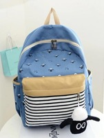 high quality cheap 2014 ladies Cartoon Sheep pattern String Canvas Backpack shoulder schoolbag Travel packet Mochila Femininas