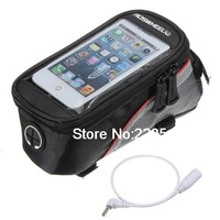 Bike Bicycle Frame Front Tube Bag Transparent PVC With Audio Extension Line 4.8 Inches Cellphone For Samsung S3 (Red)