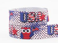 "Uber ribbon 50Y 7/8"" USA Flag Owl Ribbon Printed Grosgrain Ribbon 22mm hair bow DIY handmade X1766 Free shipping"