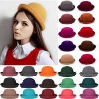 2014 Rushed free Shipping Women Female Woolen Cap Autumn And Winter Fashion Lovely Roll-up Hem Dome Small Fedoras Balls Jazz Hat