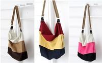 2014 new handbag shoulder bag tri-color stitching canvas shoulder bag diagonal stripes bag