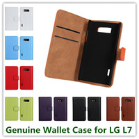 Luxury Premium Genuine Leather Pouch Wallet Stand Protective Case Cover for LG Optimus L7 P705 with Card Slots 11 Colors Free