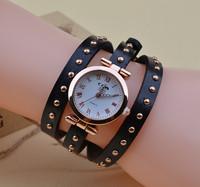 New Arrival Retro Rose Gold rivet dial Roman punk belt watch three-winding Women fashion watch
