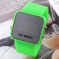 100pcs/lot Unisex Mirror LED Watch Rubber Strap digital hours Casual watch Men women sports watches WA014