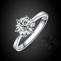 2014 New Top Quality Sterling Silver Jewelry Brand Design Classic Six Claw One Carat Zircon Wedding Rings Titanium Steel Jewelry