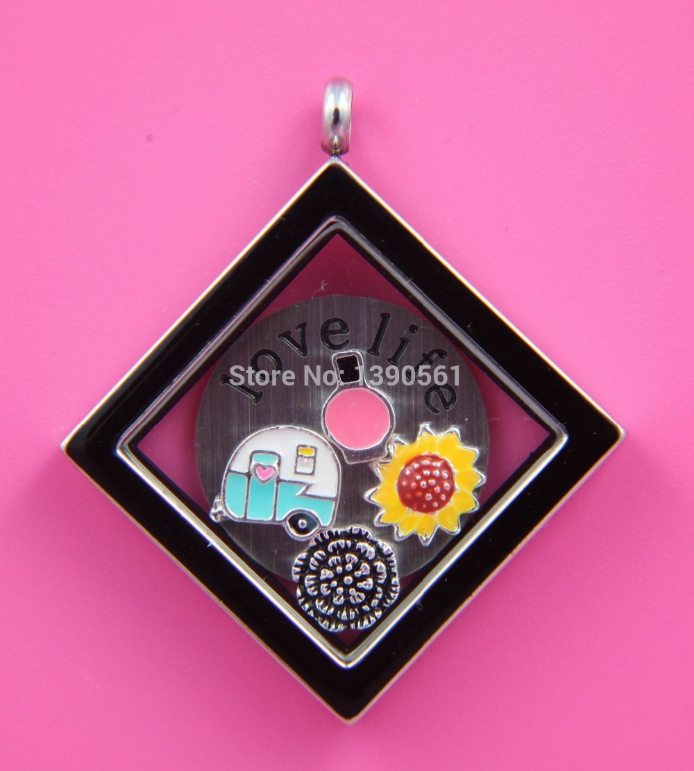 Love Life Stainless Steel Square Glass Locket Floating Charms with Round Window Plate without Chain(Finished Product)(China (Mainland))