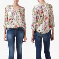 Fashion Women Casual Blouses V-Neck Long Sleeve Blouse Floral Prints Chiffon Shirt Top Drop Shipping WF-35527