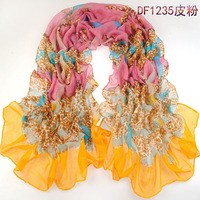 (Min order is $10) summer pashmina women's scarf long shawl printed cape silk chiffon tippet muffler echarpes Scarves