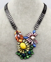 Rainbow Crystal Shiny Flower Women Shiny Resin Statement Party Necklace, Chunky Women Collar pendant Faceted Folk Style