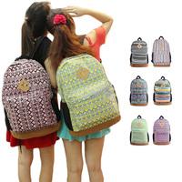 Womens Floral Canvas Satchel Backpack Shoulder School Bag Bookbag Rucksack