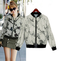 Sunscreen 2014 Trend All-match Casual Ladies Jacket Print Floral Patchwork Long-sleeve Transparent Organza Baseball Coat
