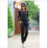 2014 new autumn women hoody fashion sport suit women boat neck Large Sizes top jacket +Pants clothing set S M L XL XXL