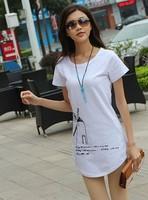 New 2014  Summer Women Korean Long Design Short  Sleeve Windmill Print O-neck Loose Tee Tops girl t shirt women Free Shipping
