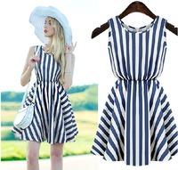 A Strip Print Blouson Summer Dress