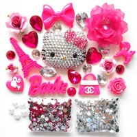 Phone Deco Hello Kitty Blinged Out DIY Phone Cases Hot Pink Frosted Flower Rose Pink Fimo Dog Bling Bling Rhinestons