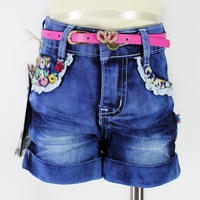 2014 Summer Fashion Cute Girl Lace Kids Children Denim Jeans Pants Baby Casual Style Shorts with Rose Pink Belt