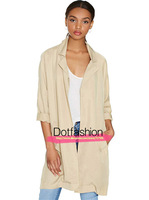 Newest Long Tops 2014 Hot Sale Spring Women's Fashion Apricot Raglan Sleeve Pockets Casual Trench Coat