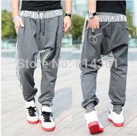 2014 New Men's Casual Loose Cotton Trousers Fashion Narrow Feet Drop Crotch Pants Men Hip Hop Harem Pants Free Shipping