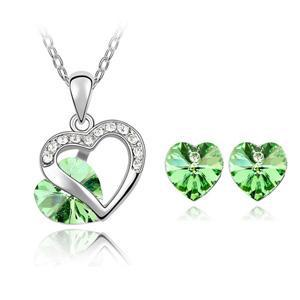 Heart Shapes White Gold Plated Inlay Green Austrian Crystal Diamond Fashion Classic Jewelry Set(China (Mainland))