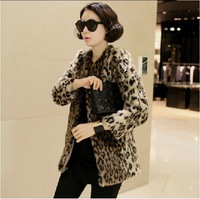 Free shipping Hot sale colorful lady faux  fox fur style jacket cool Leopard  faux fur coat  High quality Europe style Plus size