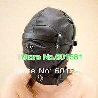 Adjustable full black artificial Leather Jacket Straitjacket Armbinder Hood Mask