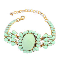 2014 New Fashion Woman's Bohemian Fluorescent Color Gold Chain Light Green Bracelet For Women Jewelry Free Shipping #107944