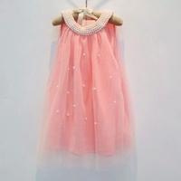 New 2014 Summer Children clothing baby girls party dress  girls Korean Pearl collar lace veil dress 5pcs/lot